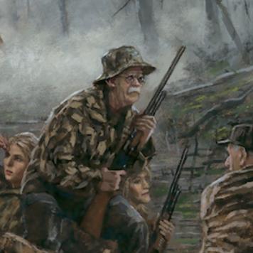 John Bolton holding a shotgun